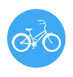 Bicycle icon in the style of a road sign blue vector