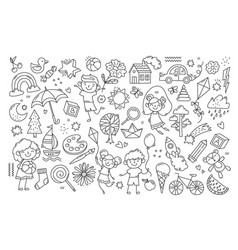 black and white child drawing vector image