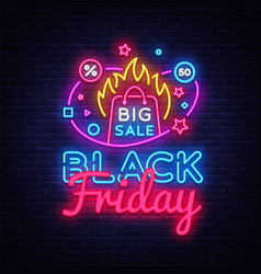 black friday sale neon banner design vector image