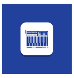 Blue round button for synth keyboard midi vector