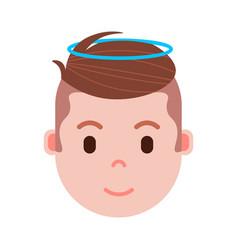 boy head emoji with facial emotions avatar vector image