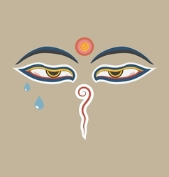Buddha eyes of the nepal with teardrop vector