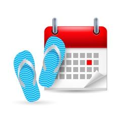 Calendar with flip flops vector image