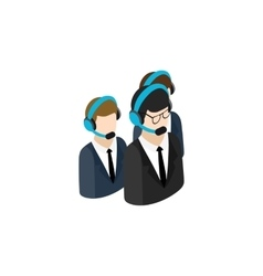 Call center operators group with headsets icon vector