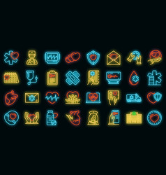 cardiologist icons set neon vector image