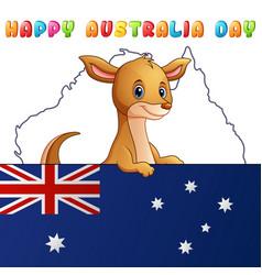 Cartoon cute kangaroo behind a flag on map backgro vector