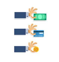 cartoon hand pick money vector image