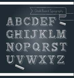chalkboard typography alphabet doodle style vector image