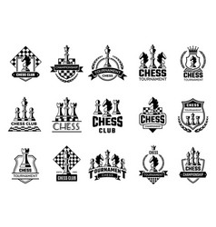 chess labels sport stylized silhouettes chess vector image