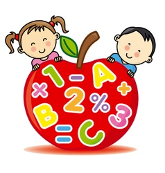 Children with an apple that contains numbers and l vector