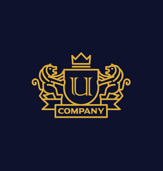 Coat arms letter u company vector