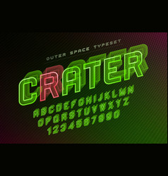 Crater futuristic decorative font design vector