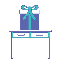 Desk table with drawers front view with big gift vector