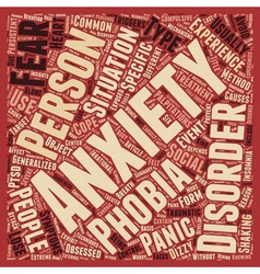 Different Types of Anxiety Disorders text vector image