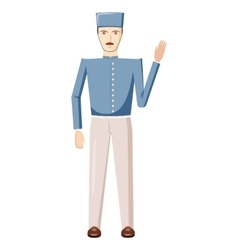 Doorman in a blue uniform icon cartoon style vector