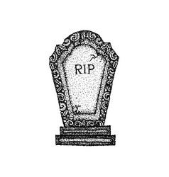 dotwork ancient gravestone vector image