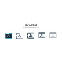 Downloading icon in different style two colored vector