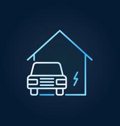 Electric car near blue house creative line vector