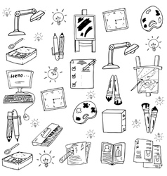 Flat doodle school education vector