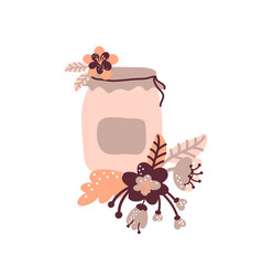 Floral jam jar for food blog vector