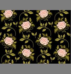 flower pattern of roses on black background vector image