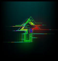 Futuristic glitch up arrow in cyberpunk style vector
