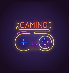 Gamepad neon sign vector