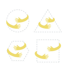 geometric shapes with hand embrace logo with hug vector image