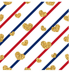 gold heart seamless pattern red-blue-white vector image