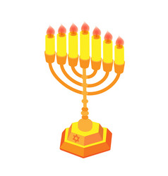 golden hanukkah with candles or menorah isometric vector image