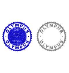 Grunge olympus scratched stamp seals vector