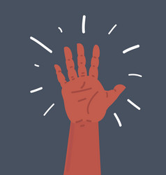 hand on black vector image