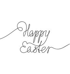 happy easter calligraphy line art lettering vector image