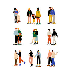 Happy gay and lesbian couples set women and men vector