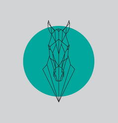 horse head geometric lines silhouette vector image