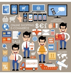 Internet shopping e-commerce online shopping set vector image
