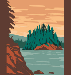 Isle royale national park and islands in lake vector