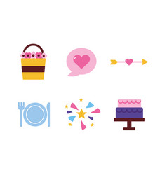Isolated wedding and love flat icon set vector