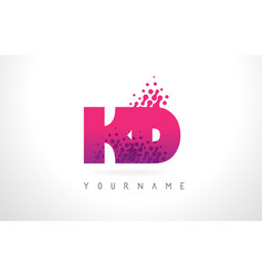 Kd k d letter logo with pink purple color and vector