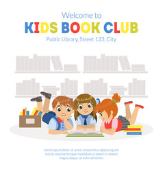 kids book club banner template with place for text vector image