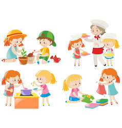 kids doing different chores vector image