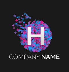 letter h logo with blue purple pink particles vector image
