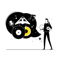 Listening to music - flat design style vector