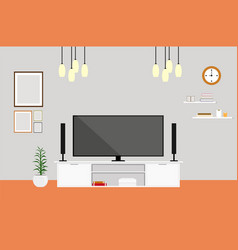 living-room with tv modern design home set vector image