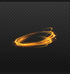 magic golden light ring with sparkling stars and vector image