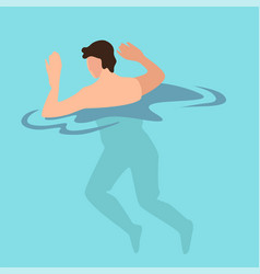 male character swimming in water summer vacation vector image