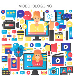 man and woman blogger video vector image