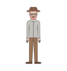 man with hat and glasses and shirt and pants and vector image