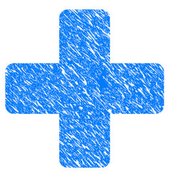 Medical cross grunge icon vector