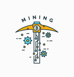 Mining and earning cryptocurrency vector